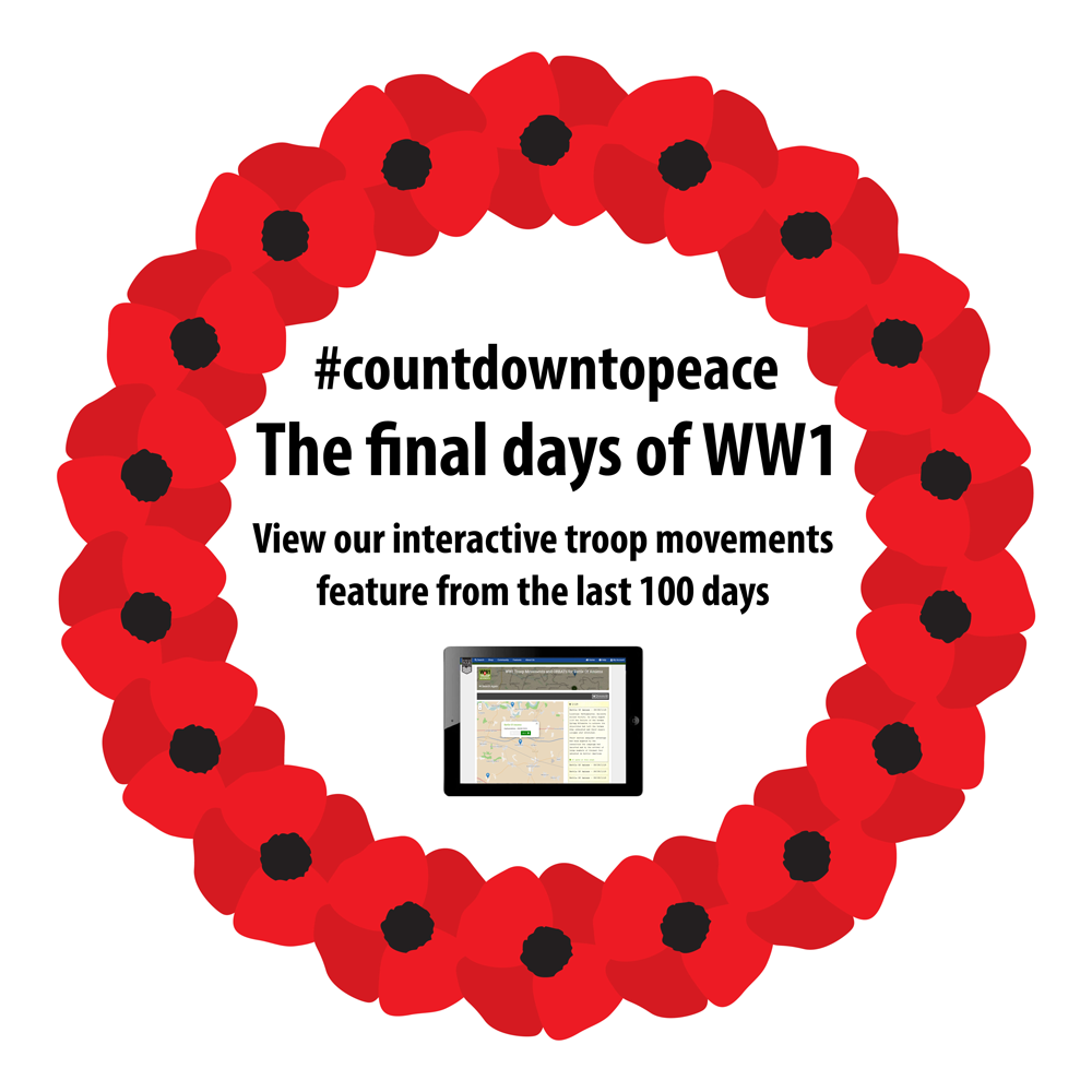 Advance to Victory with Forces War Records and retrace your ancestor's footsteps during the last 100 days of World War One #CountdownToPeace